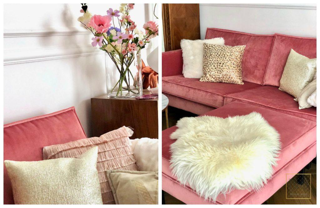 roze velvet bank met kussens