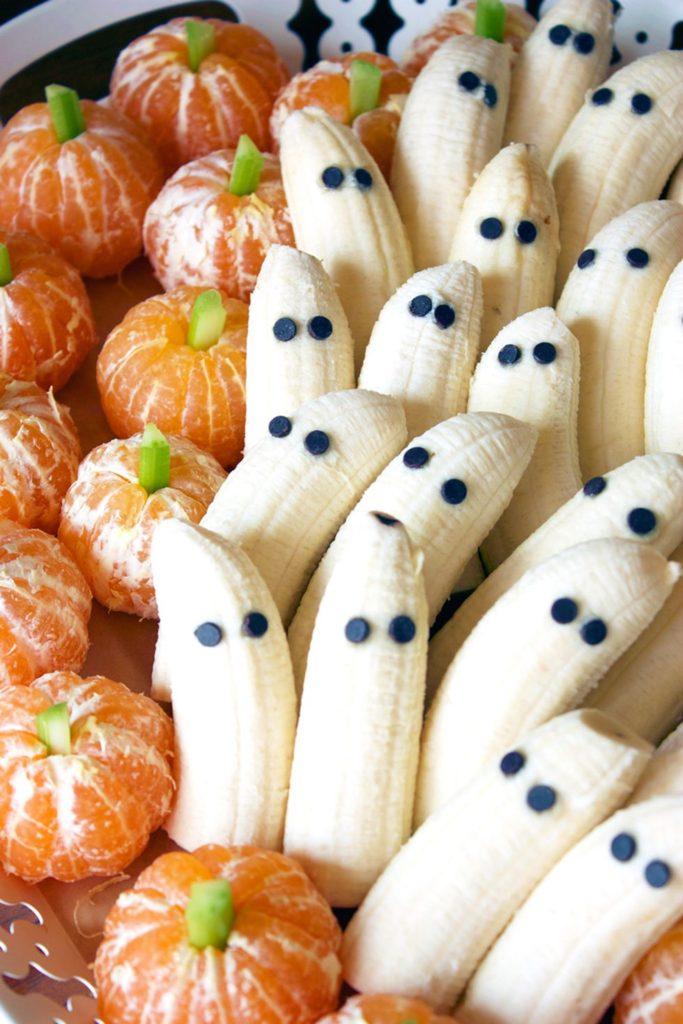 halloween hapjes banaan en mandarijn