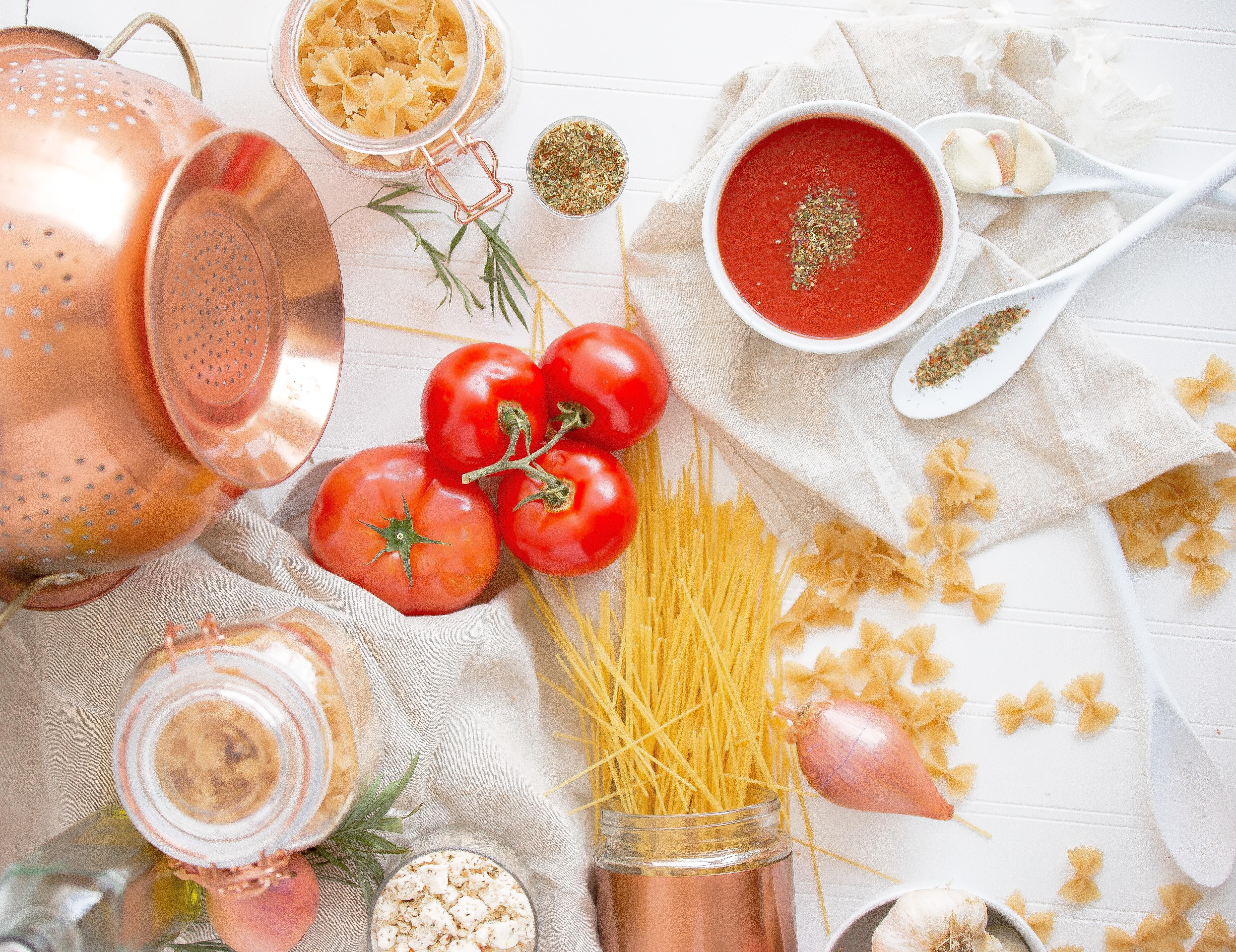 Italian food flatlay