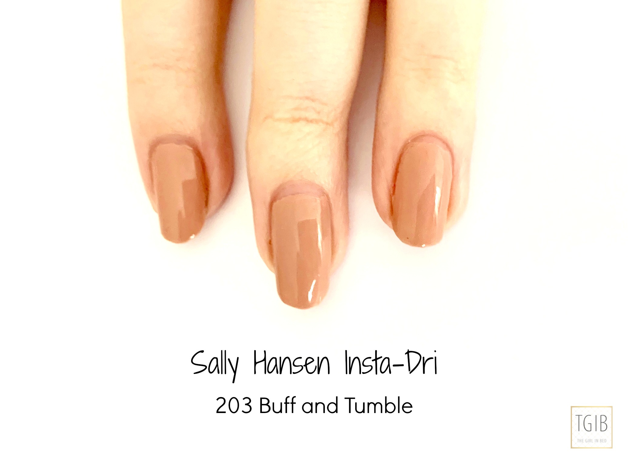 Sally Hansen Insta-Dri Nagellak Review Swatch Buff and Tumble