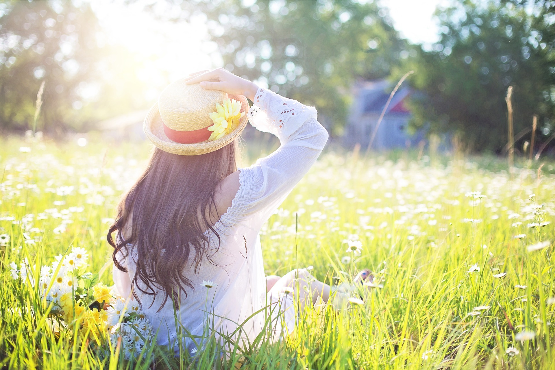 woman in grass summer