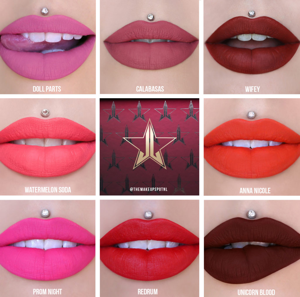 Jeffree Star Cosmetics Love Sick Mini Red & Pink Velour Liquid Lipstick Bundle swatches