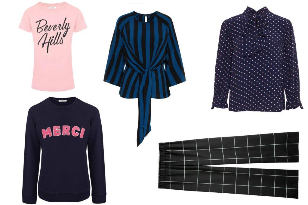 T-shirt, trui, twee blouses en een geruiten broek