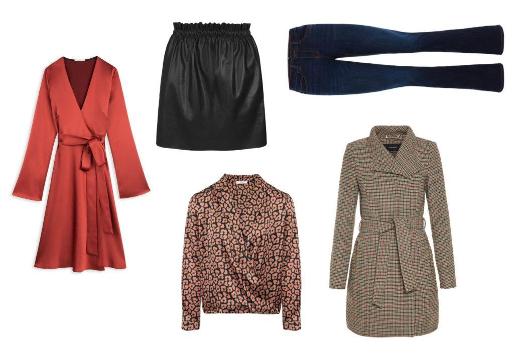 rode jurk, leren rok, spijkerbroek, geruiten jas en blouse