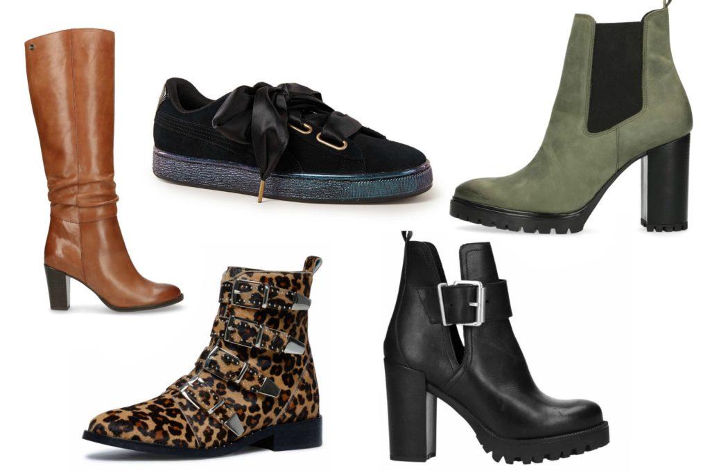bruine laars, panter laars, sneaker, groene laars en zwarte laars