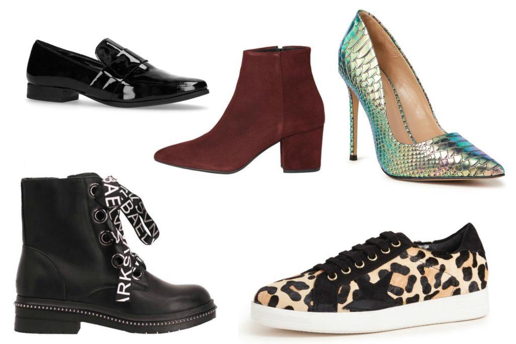 loafers, laars met strik, rode laars, groene pump en panter sneaker