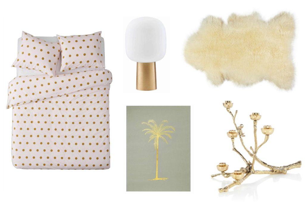 dekbed, lamp, kleed en kandelaar