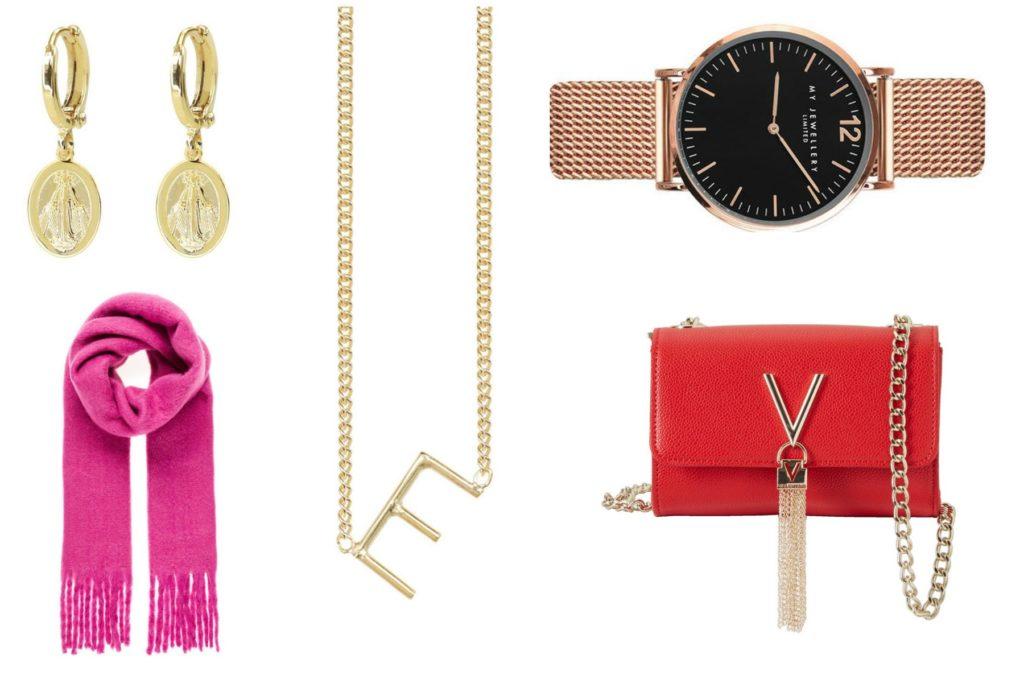 oorbellen, roze sjaal, letter ketting, horloge en rode tas