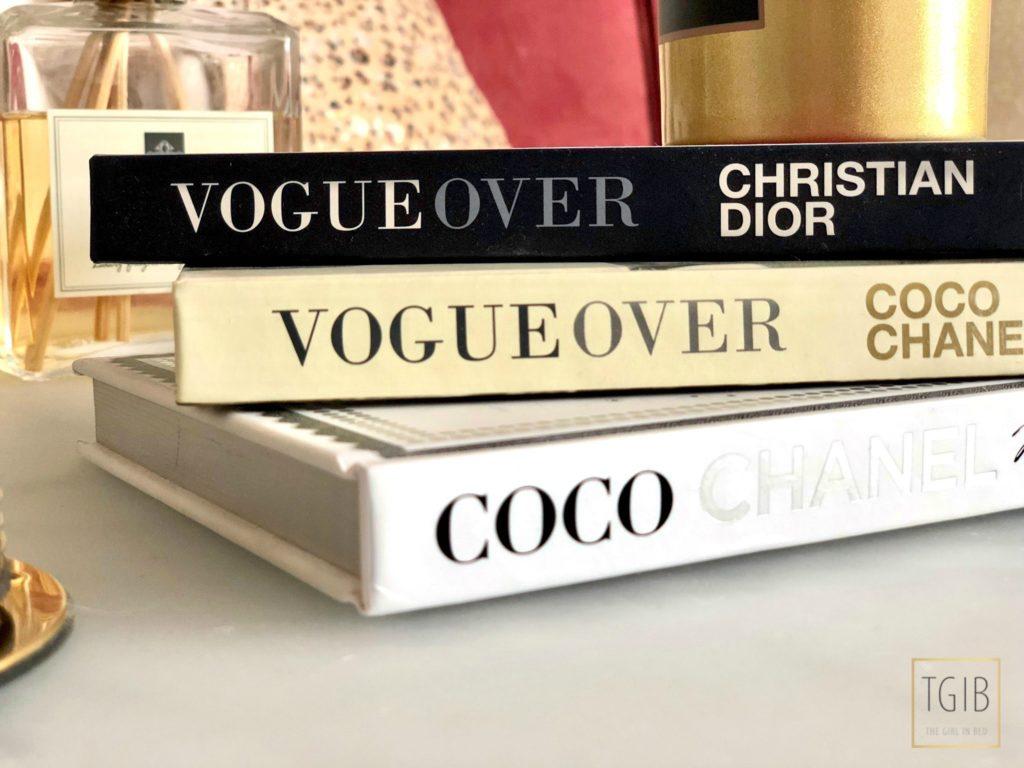 drie boeken over vogue, Chanel en Dior
