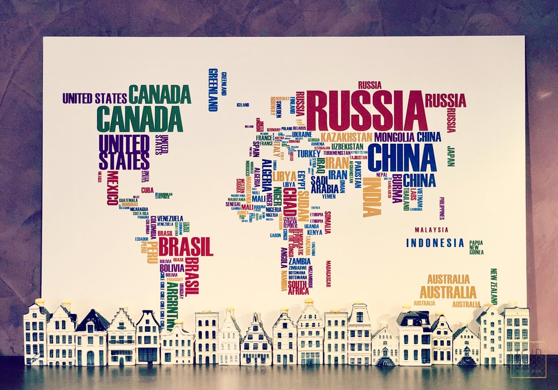 wereldkaart met klm huisjes