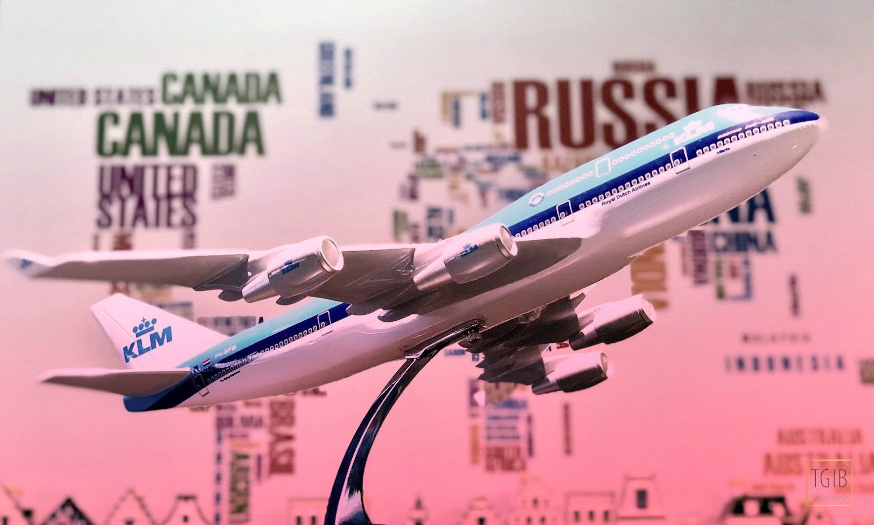 wereldkaart klm vliegtuig