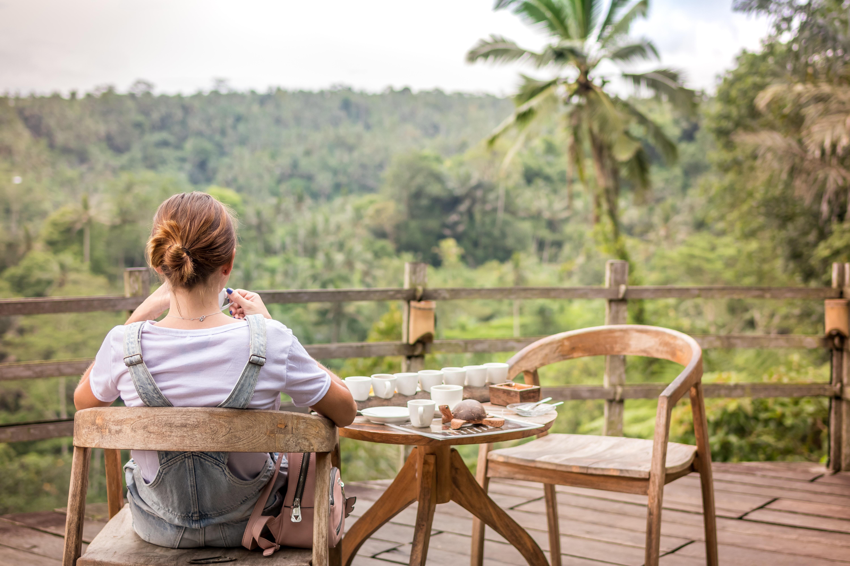 wooden chairs garden view