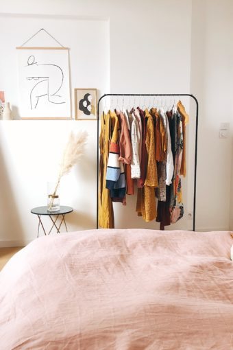 bedroom with mirror and clothing rack