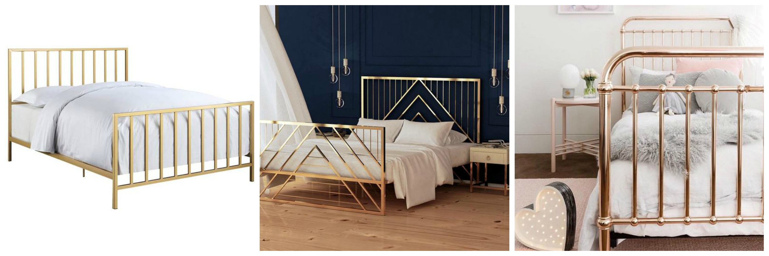 gold bed frame collage