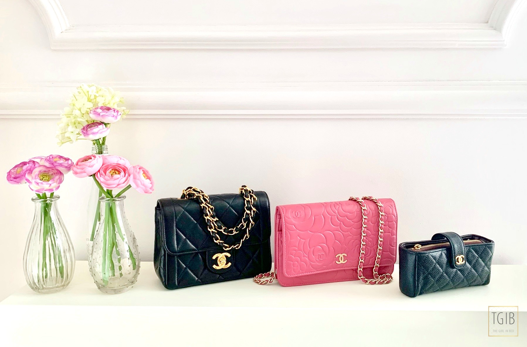 Chanel bags with flowers