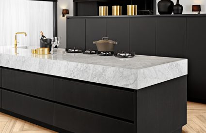 black and marble kitchen