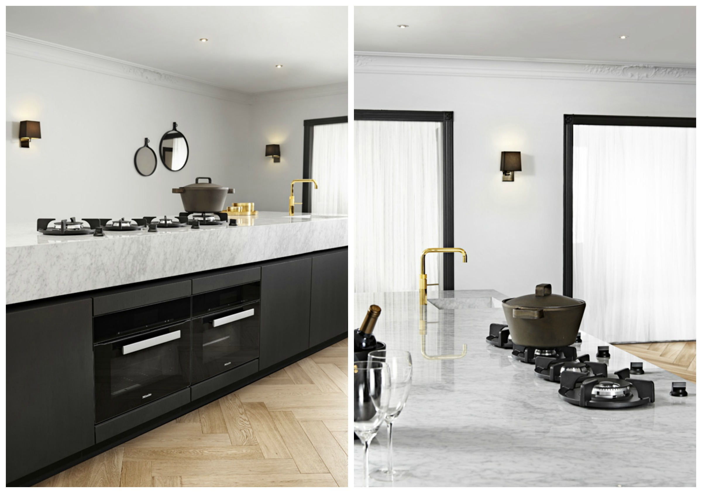 black and marble kitchen top