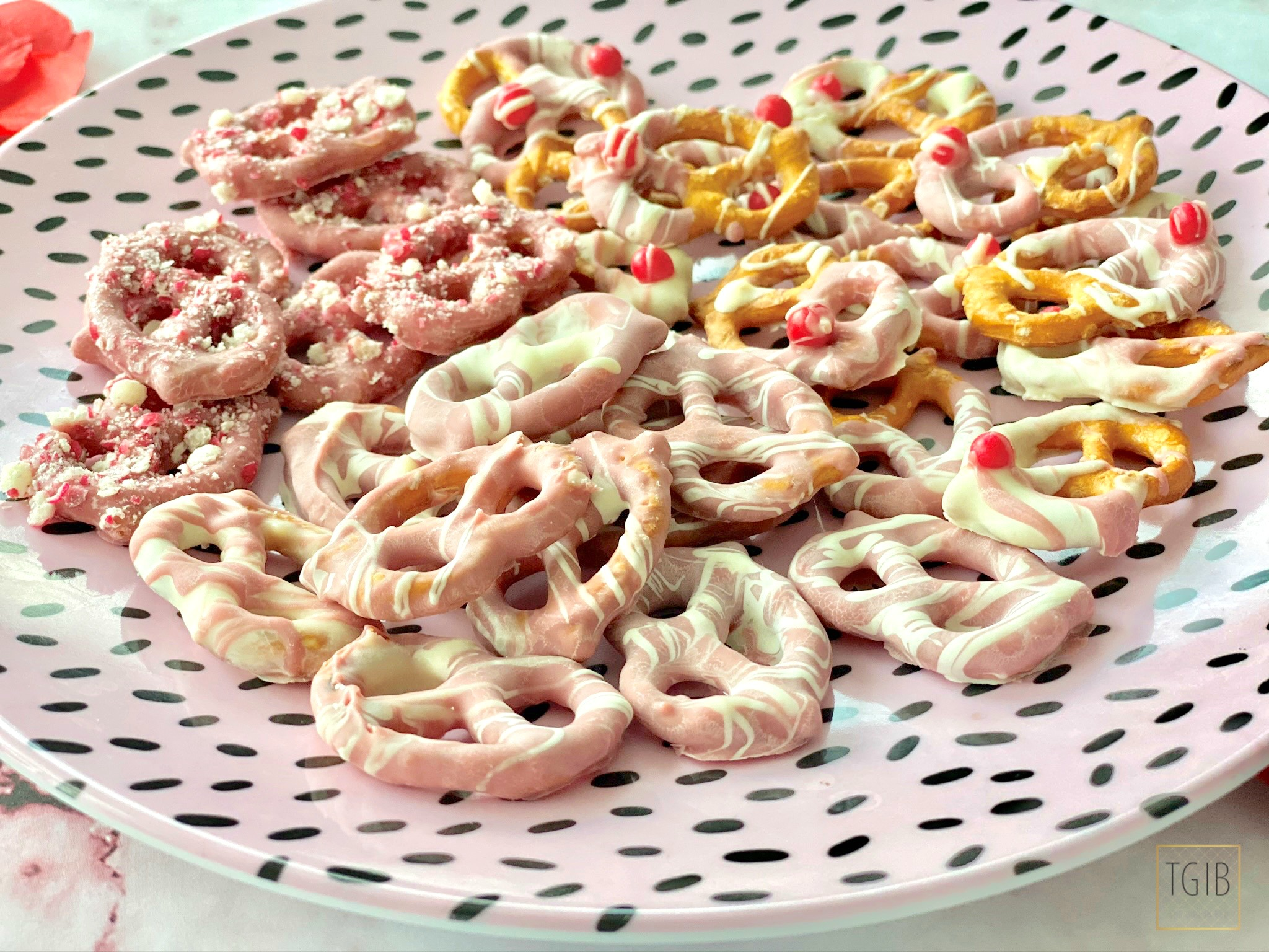 Pink Pretzels ruby chocolate covered pretzels