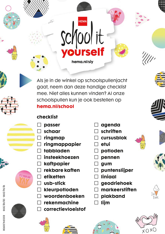 schoolspullen checklist