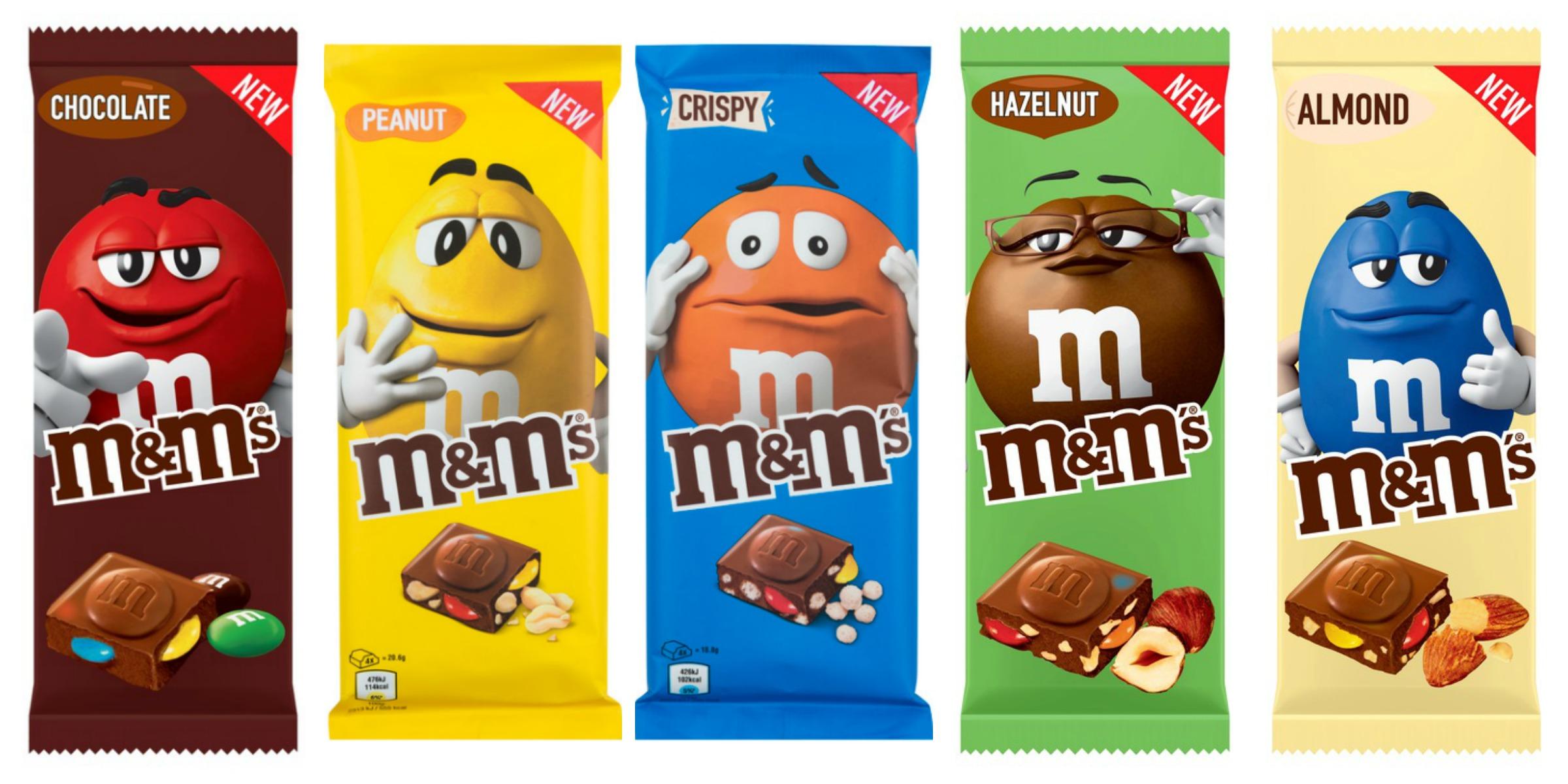 M&M's Chocoladerepen Review chocolate, peanut, crispy, hazelnut en almond