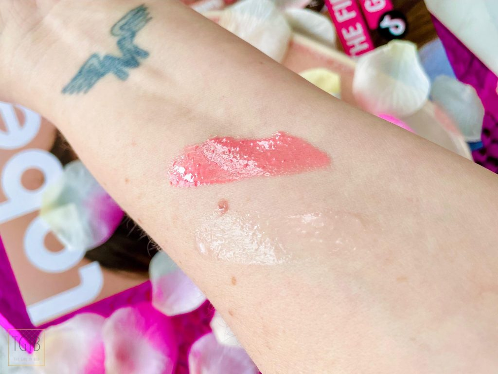 Labello Caring Lip Oil swatches plakt het